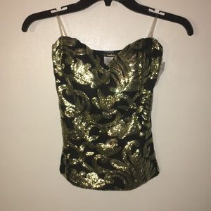 Gold Sequin Strapless Top